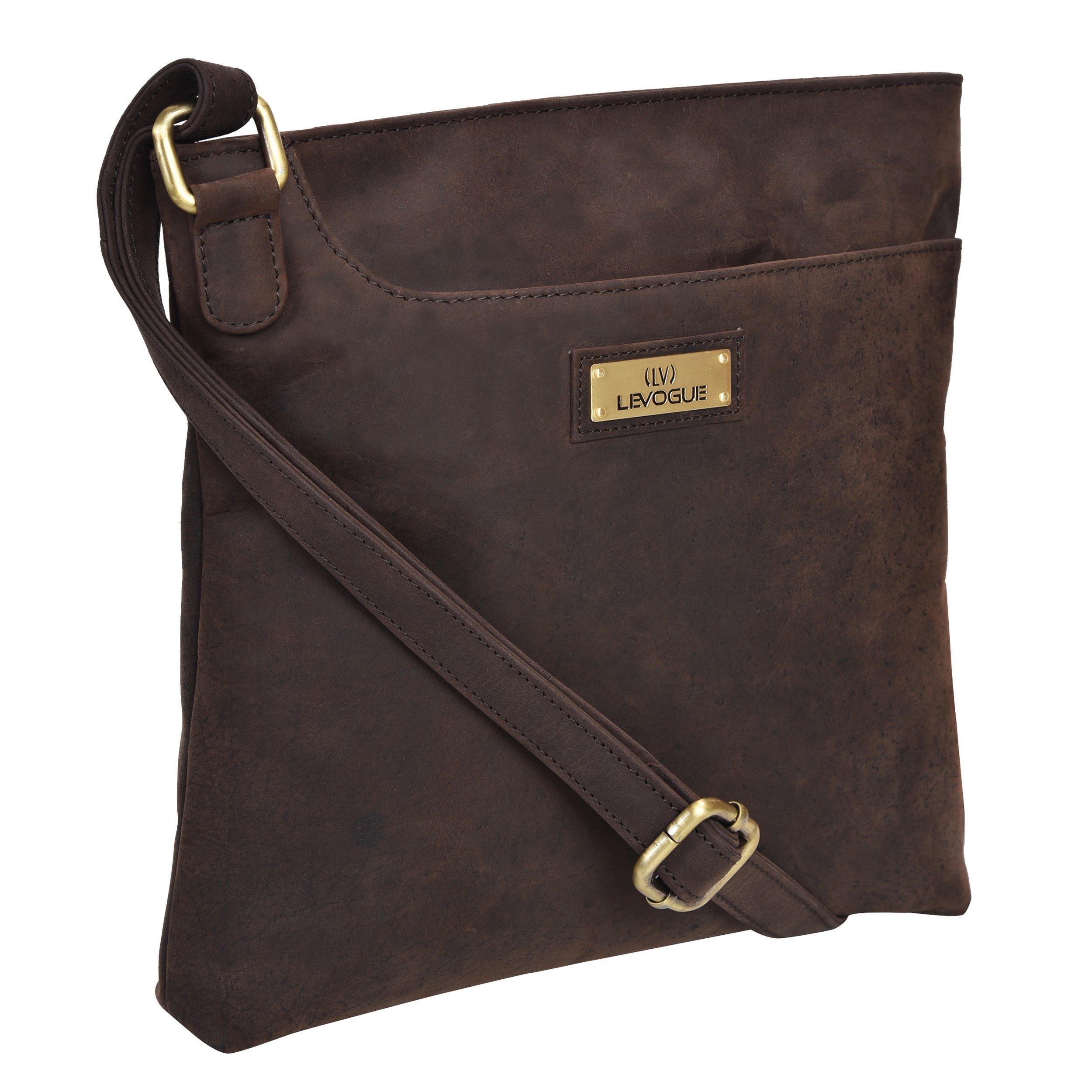Genuine Leather Slim Womens Crossbody - Over the shoulder bag for Women Handmade by LEVOGUE (BROWN OILY HUNTER)