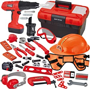 40 Pieces Toy Tool Construction Set for Toddler Boys Pretend Play Tool, Kit Playset Including Construction Worker Belt, Electric Toy Drill, Helmet and Construction Tool Accessories in Workshop Storage
