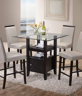Kings Brand Cappuccino Finish / Glass Top Counter Height Dining Table with  Storage