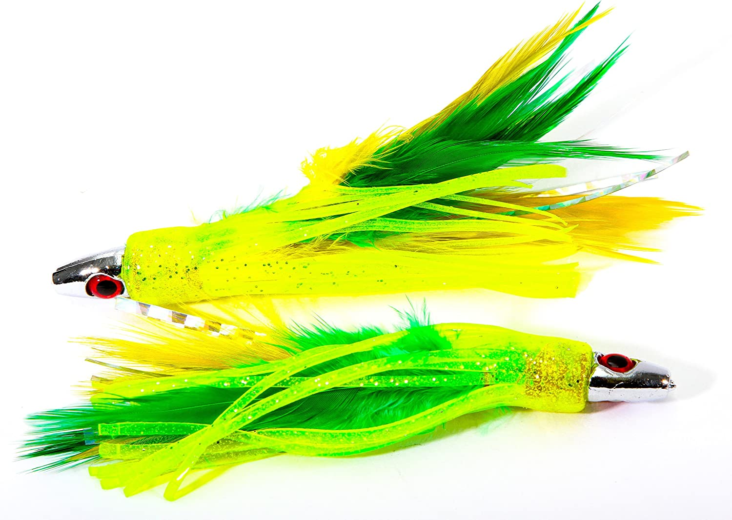 """10 NEW Double Rigged Trolling Big Game Lure Skirt 4.5/"""" double 3//0 Hooks rigged"""