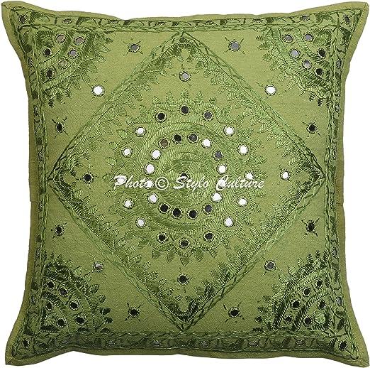 Stylo Culture Espejo Indio Bordado Funda de cojín de algodón Verde 16x16 Resumen Almohada de la Sala de Estar: Amazon.es: Hogar