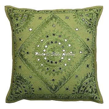 Stylo Culture Espejo Indio Bordado Funda de cojín de algodón Verde 16x16 Resumen Almohada de la Sala de Estar