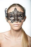 Black Royal Venetian Laser Cut Metal Mask Masquerade with Sparkling Rhinestones