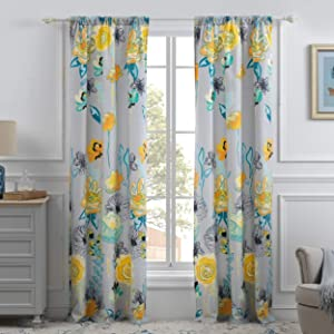 Greenland Home Watercolor Dream Curtain Panel Pair, 84-inch L, Gray