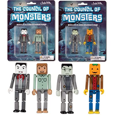 Accoutrements The Council of Monsters 4 Cube Figure Set! Dracula Frankenstein Werewolf Jack: Toys & Games
