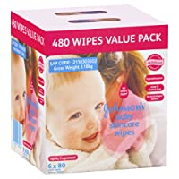 Johnson's Baby Wipes Skincare Lightly Scented (Pack of 6x80)