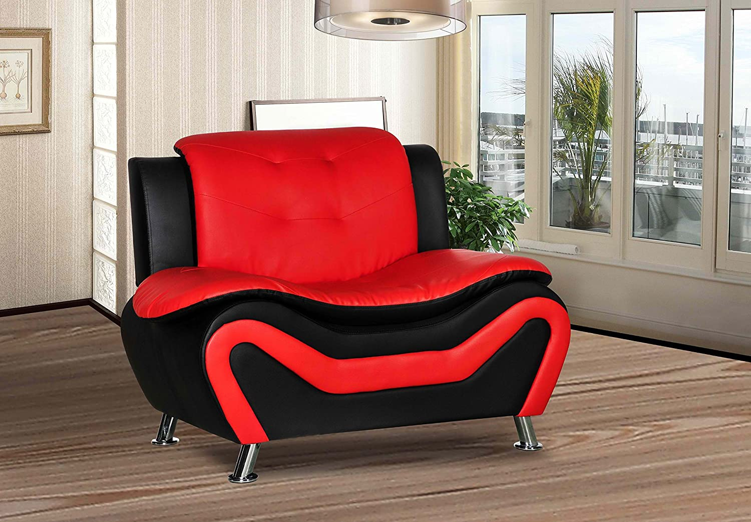 Amazon com container furniture direct s5412 c arul leather air upholstered mid century modern sofa chair black red kitchen dining