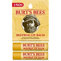 Burt's Bee 100% Natural Moisturizing Lip Balm, Beeswax, 2 Tubes in Blister Box