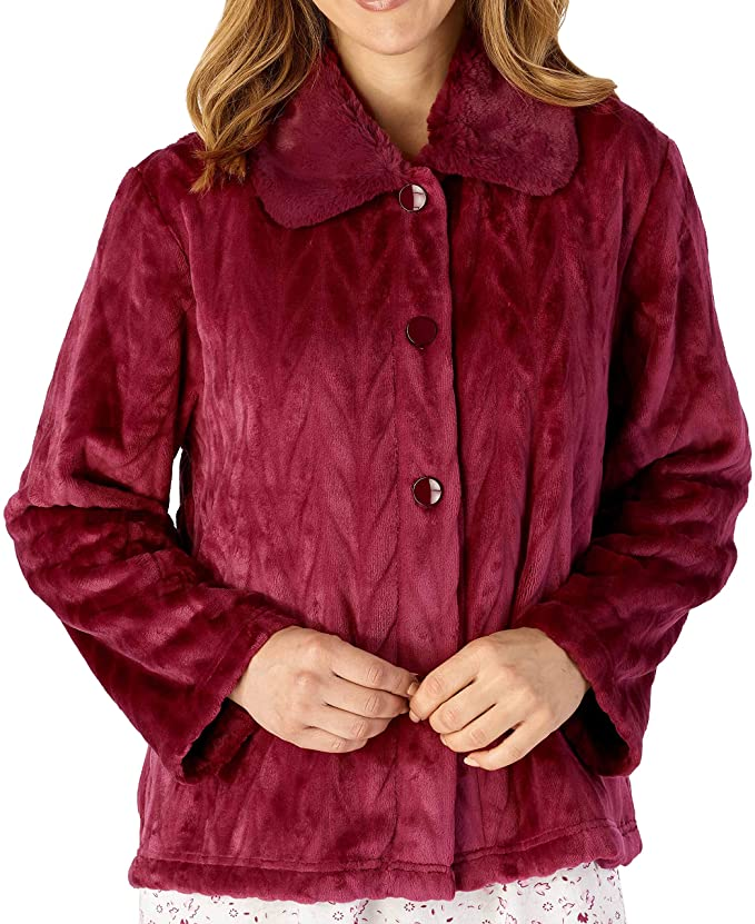 1950s Sleepwear, Loungewear History and Shopping Guide Slenderella Ladies Long Sleeve 380GSM Thick Soft Velvet Fleece Button Up Bed Jacket with Faux Fur Collar Size Small to XXXL £34.95 AT vintagedancer.com