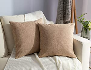 Stellhome Set of 2 Decorative Linen Throw Pillow Case Square Burlap Cushion Covers for Bedroom, 20 x 20 inch (50 cm), Natural Linen