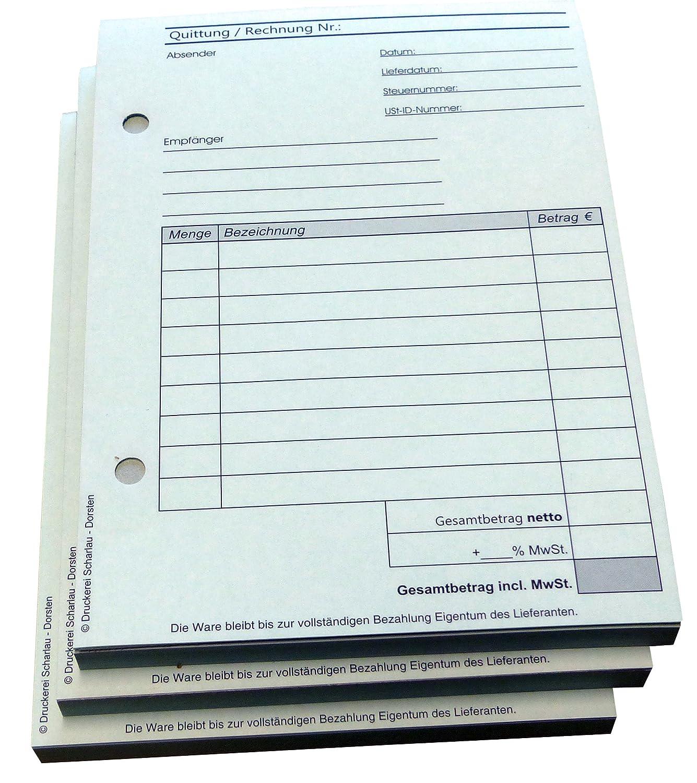 Quittungsblock 22234 gelocht SD -durchschreibend 2 x 50 Blatt DIN A6 hoch 3x Block Rechnung//Quittung