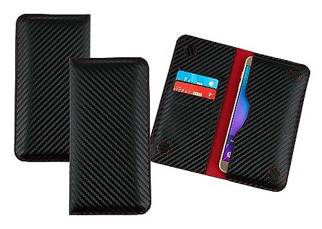 Emartbuy Negro/Rojo Carbono Fibre Finish Cuero PU Magnética ...