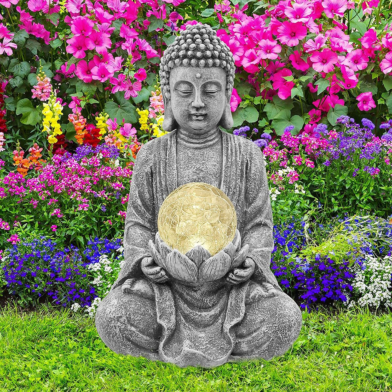Nacome Meditating Buddha Statue with Solar Light,Zen Solar Garden Buddha with Cracked Glass Ball Sculpture-Indoor/Outdoor Decor for Balcony,Garden,Patio,Porch Yard Art Ornament,10.5 inch(Grey)