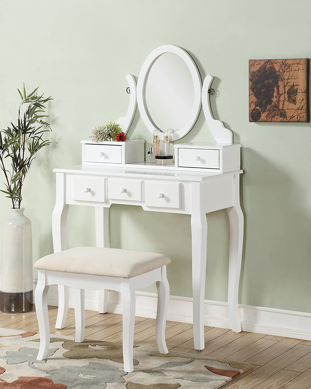 3-Piece Wood Make-Up Mirror Vanity Dresser Table and Stool Set, White eHomeProducts