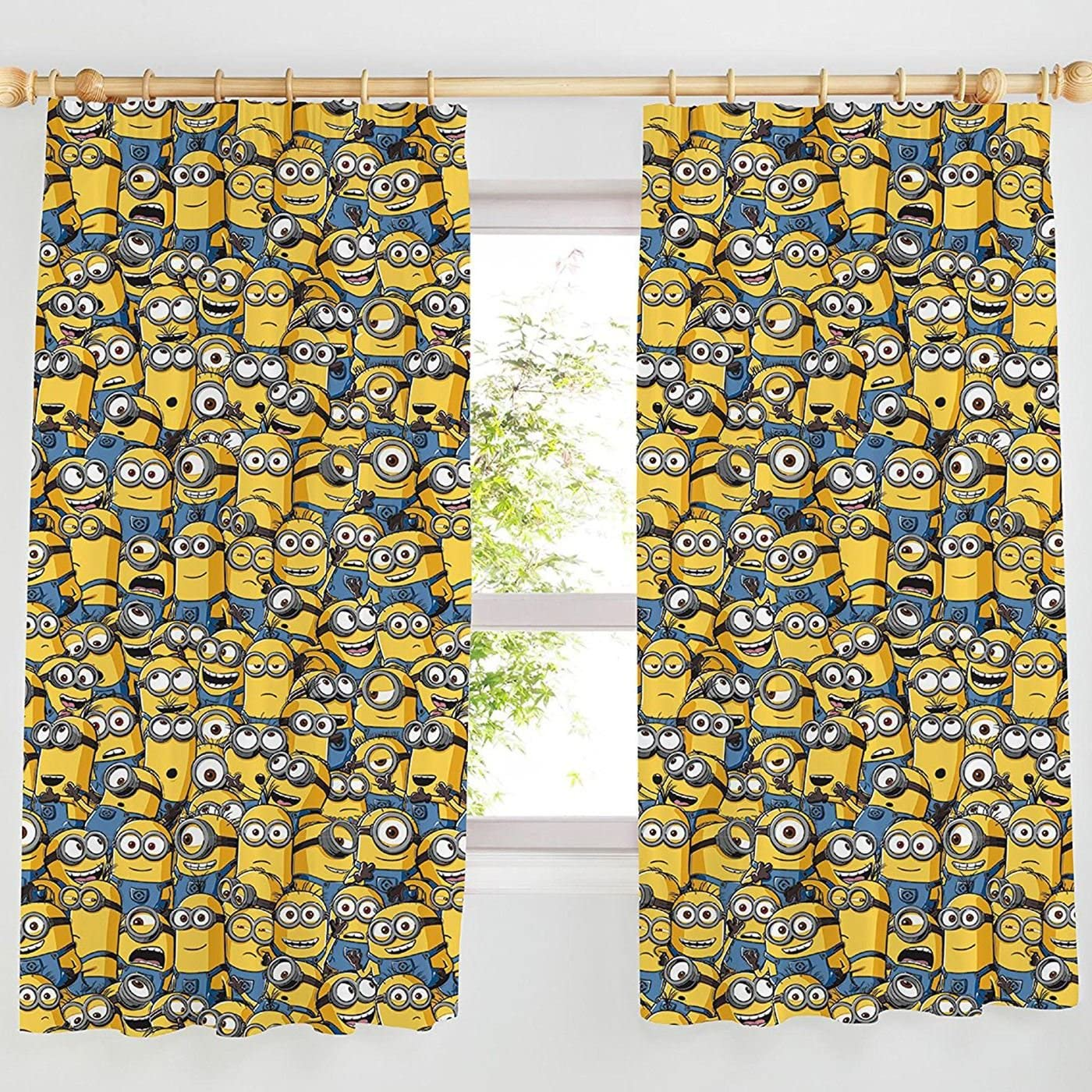 Sea Of Minions Pencil Pleat Curtains 54 Or 72 Drop 66 X 54 Drop Amazon Co Uk Kitchen Home