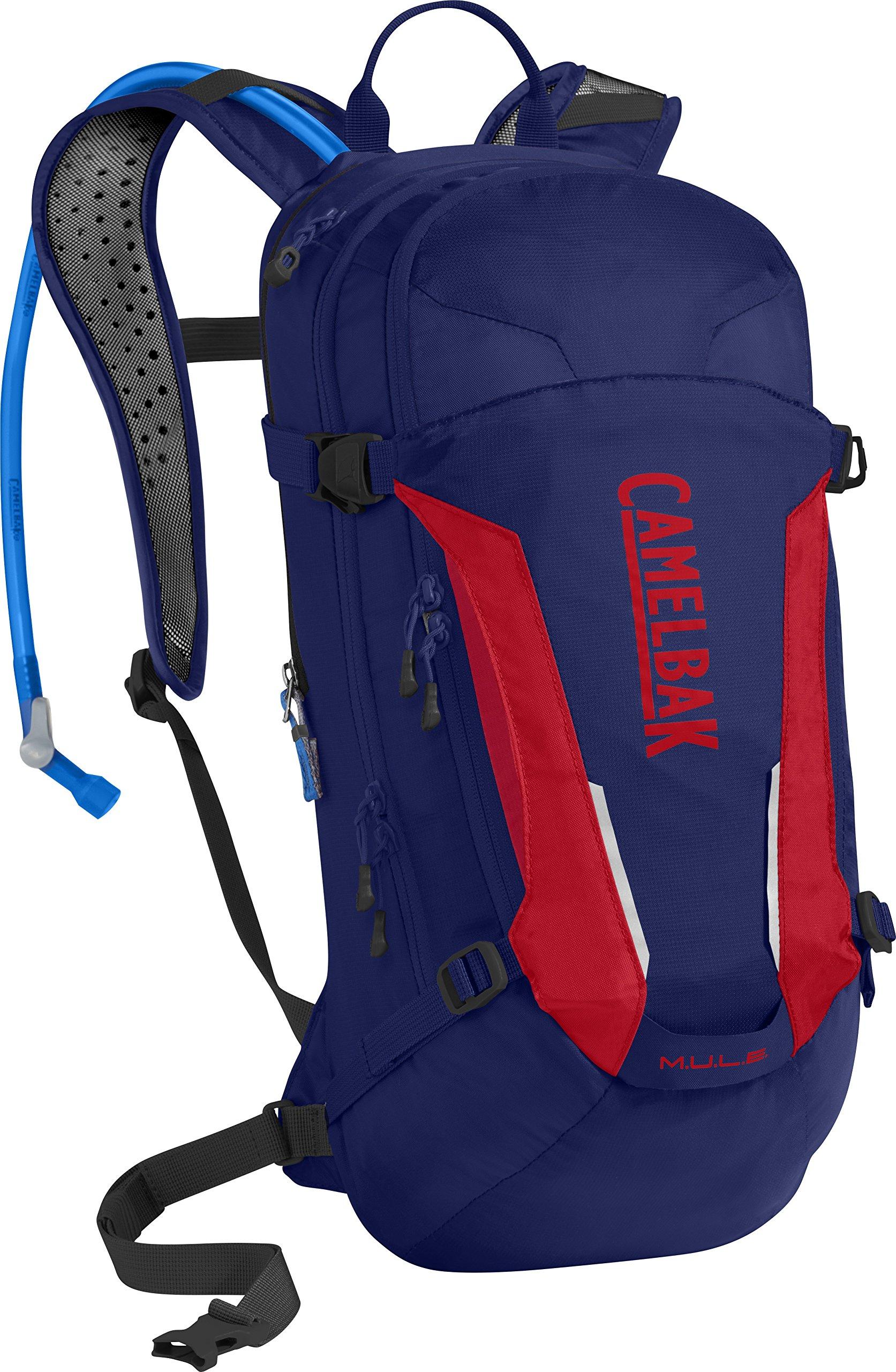 CamelBak M.U.L.E. 100 oz Hydration Pack, Pitch Blue/Racing Red