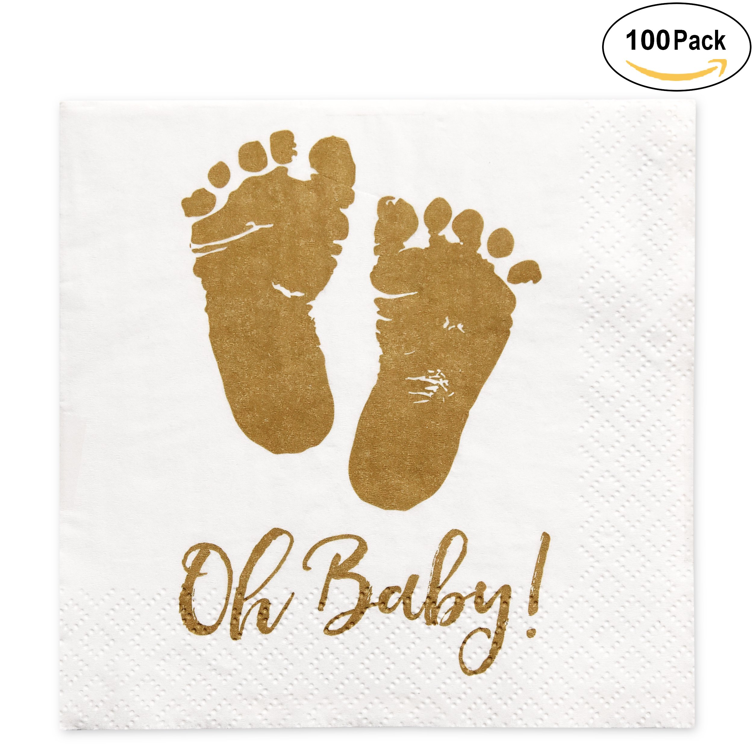 100 Baby Shower Napkins Oh Baby Beverage Napkins 3 Ply Gold Feet White  Paper Cocktail