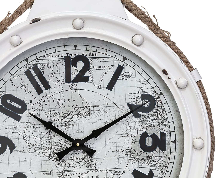 Kiera Grace HO60216-9 Rupert Metal Wall Clock White AZ Home and Gifts