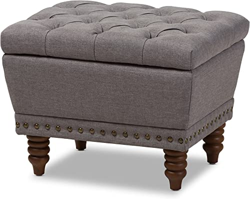 Baxton Studio Annabelle Modern Contemporary Upholstered Button-Tufted Storage Ottoman Dark Grey