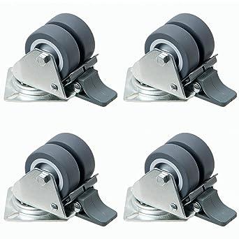 4 pieza doble ruedas con freno para playa cesta etc. 50 mm, rodamiento ruedas