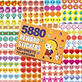 5880 Kids Reward Stickers, Incentive Stickers for Teachers,12 Pack,120 Sheets in Total, Over 70 Unique Designs Including Heart, face, Star, owl, Christmas Stickers