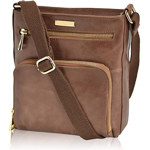 Crossbody Bags for Women - Tan Real Leather Small Vintage Over the Shoulder Bag best crossbody bags