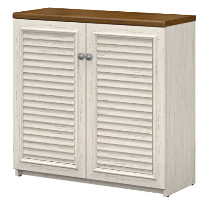 Bush Furniture Fairview Small Storage Cabinet with Doors in Antique White  and Tea Maple