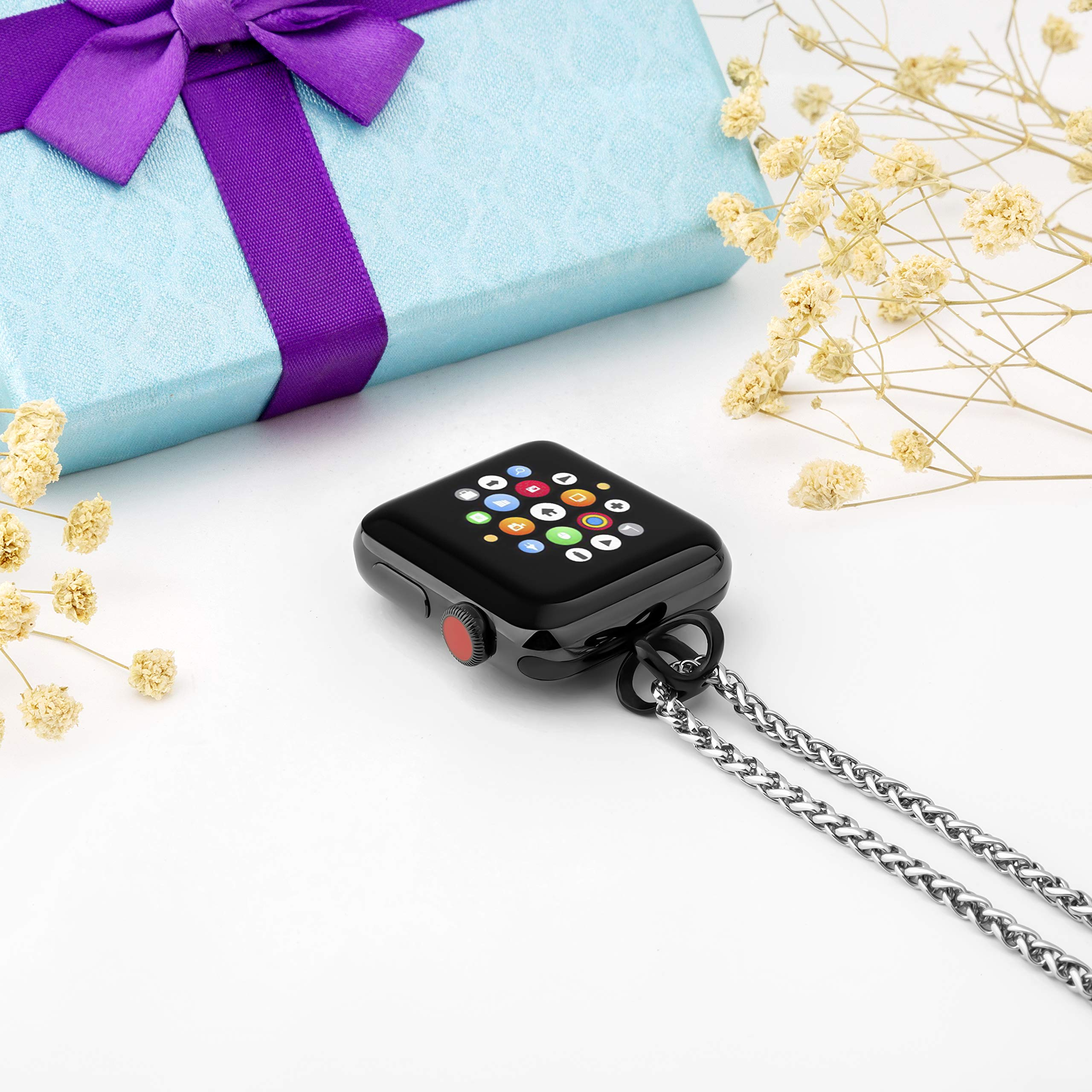 AsiaFly Necklace Pendant Compatible Apple Watch, Infinity & Double Loop Connector for Apple Watch Series 4, Series 3, Series 2, Series 1 Sport & Edition - Black 42/44mm Infinity by AsiaFly (Image #6)