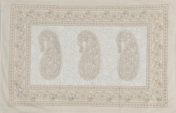 Radhika Jaipur White Gold Prints 100% Cotton 120 TC Rajasthani
