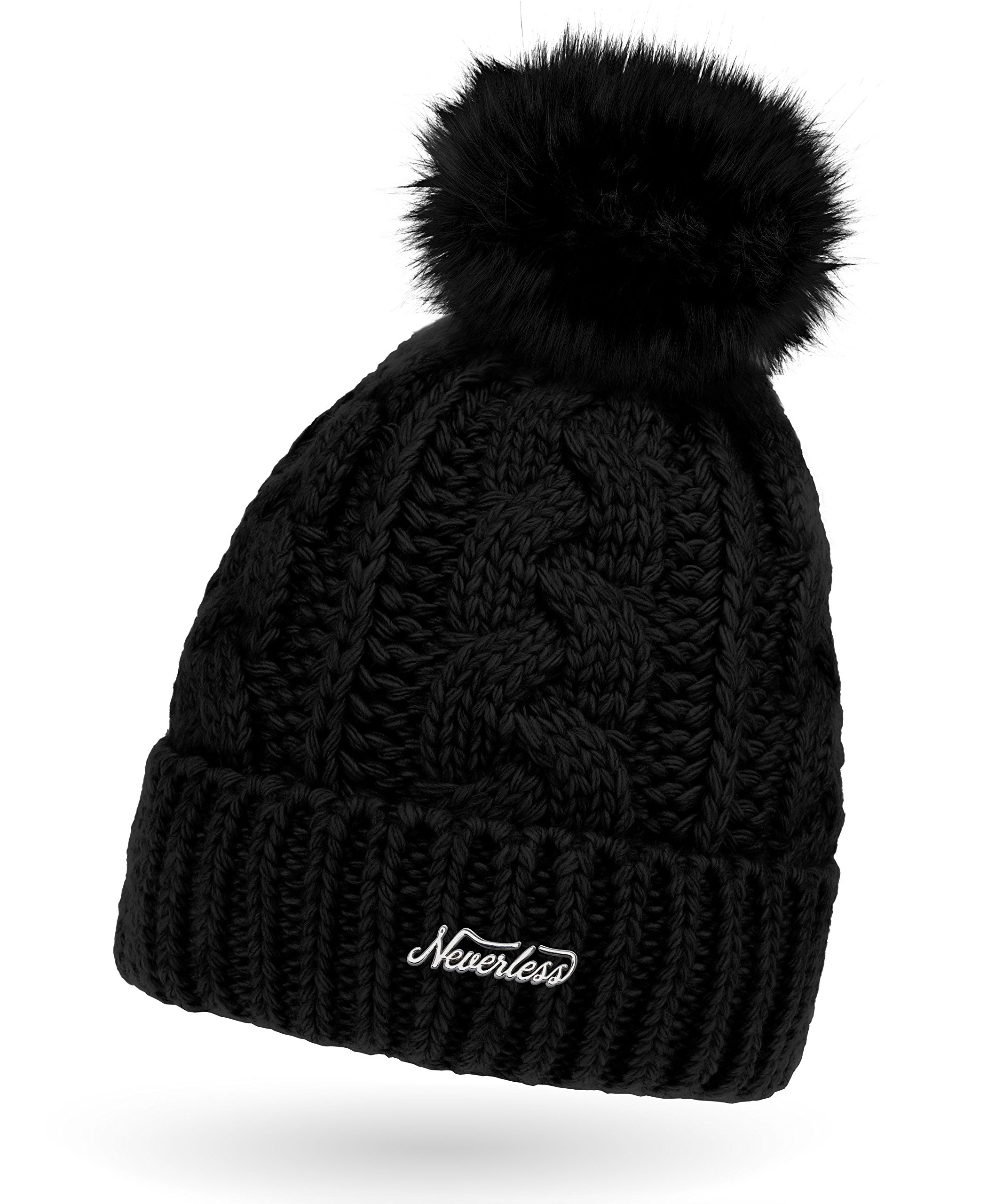 53cb2604ca3edf Neverless Damen Strick-Mütze gefüttert mit Fell-Bommel, Kunstfell,  Winter-Mütze