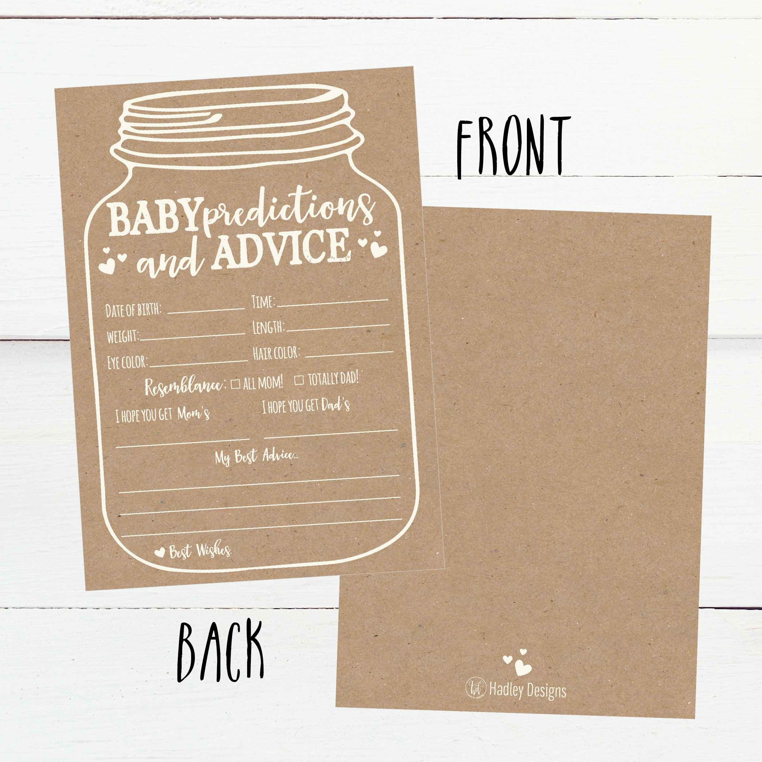 50 Mason Jar Advice and Prediction Cards for Baby Shower Game, New Mom & Dad Card or Mommy & Daddy To Be, For Girl or Boy Babies, New Parent Message Advice Book, Fun Gender Neutral Shower Party Favors by Hadley Designs (Image #2)
