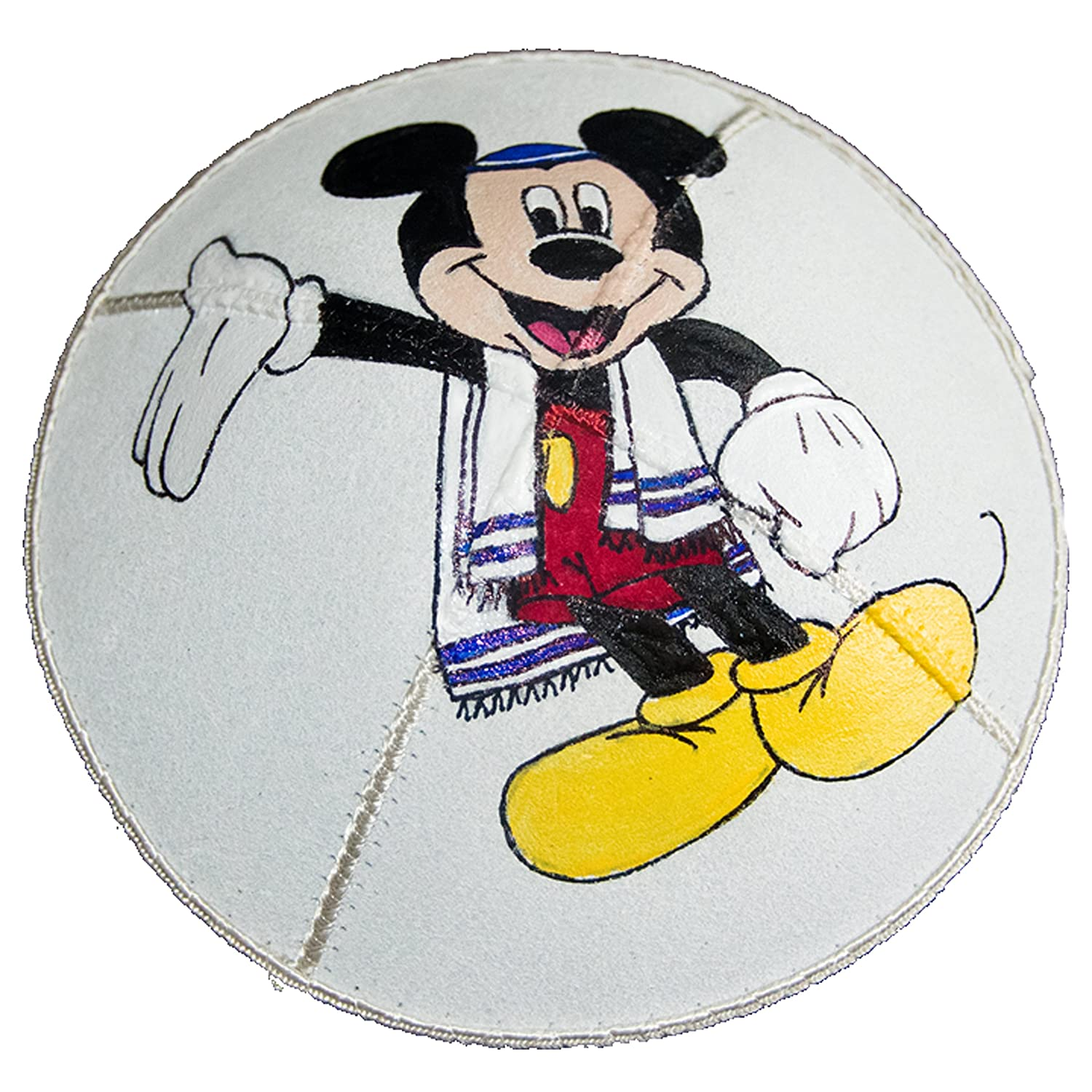 Hand-painted Kippah (Yarmulke) with a Jewish Mickey Mouse