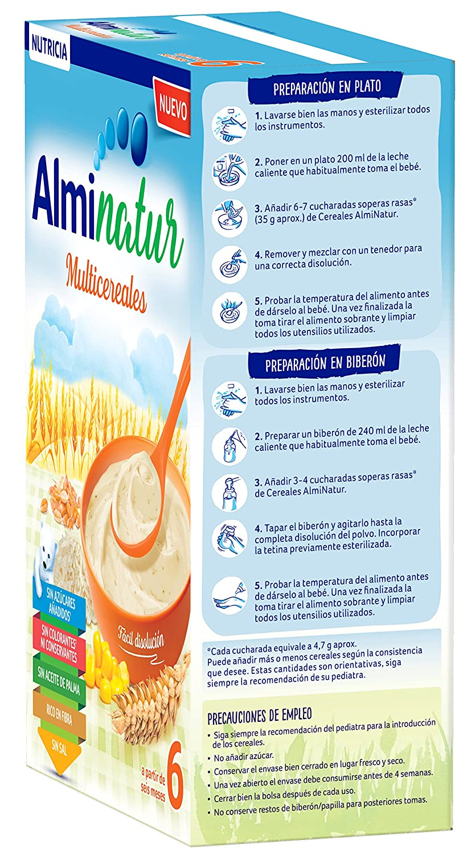 Alminatur Papilla de multicereales a partir de los 6 meses Paquete de 5 x 250 g - Total: 1.25 kg: Amazon.es: Alimentación y bebidas