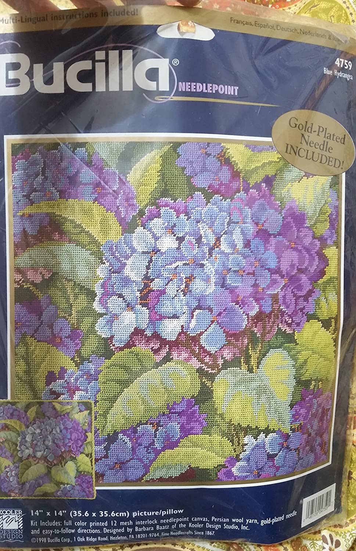 14x14 blue hydrangea needlepoint kit, persian wool, 12 mesh. Bucilla 4759