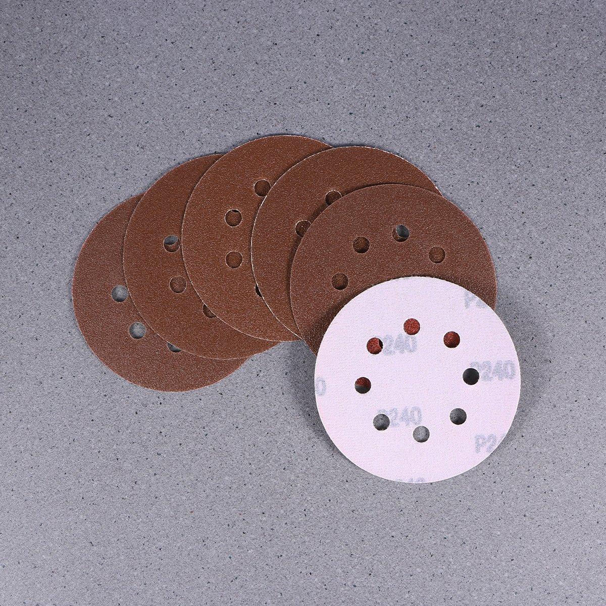 UEETEK 40pcs 8 Hole 5 Inch Sanding Discs round 60 80 120 210 Grit For Bosch PEX 220//300 Random Orbital Sander 125mm
