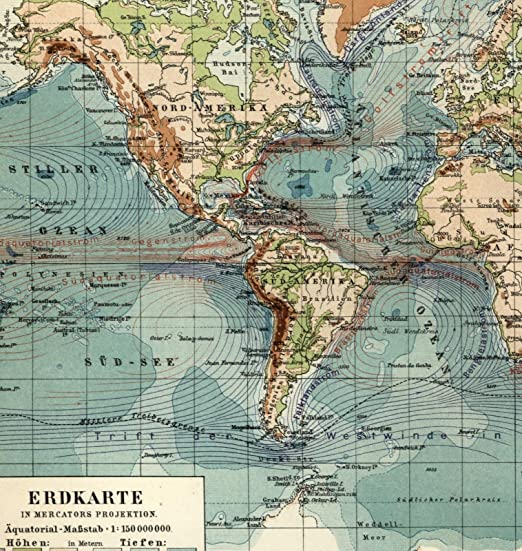World Map With Currents.Amazon Com World Map 1908 Topographical Ocean Science Currents Old