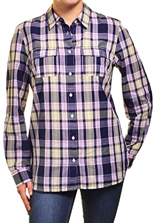 cc053489 Tommy Hilfiger Women's Roll-Tab Shirt at Amazon Women's Clothing store: Button  Down Shirts