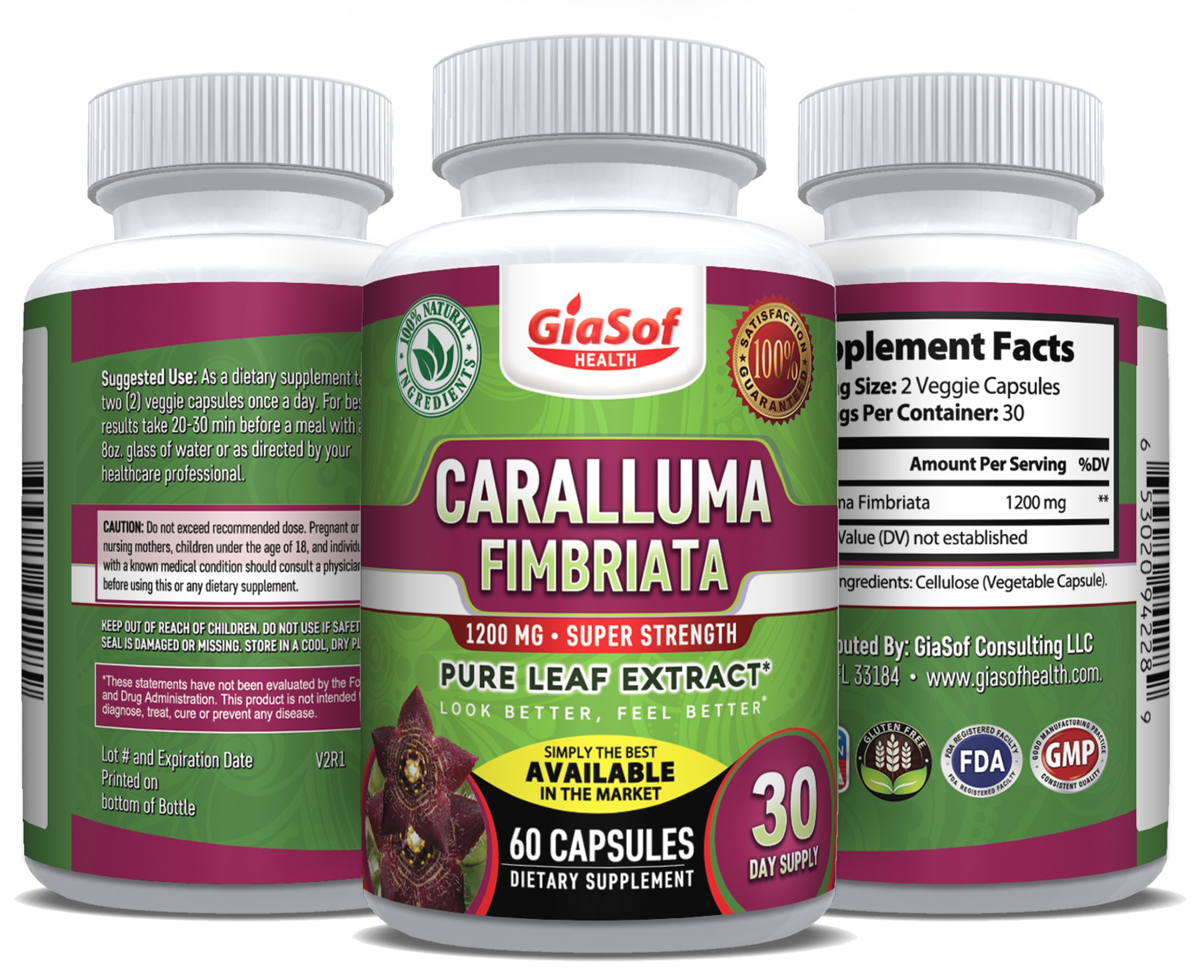 GiaSof Health Caralluma Fimbriata Extract 1200 Mg.Super Strength | Best Weight Loss Pills | Lose Weight Fast | Fat-Carb Blocker| Block Fat Intake | Build Lean Muscle | Free Standard Shipping!