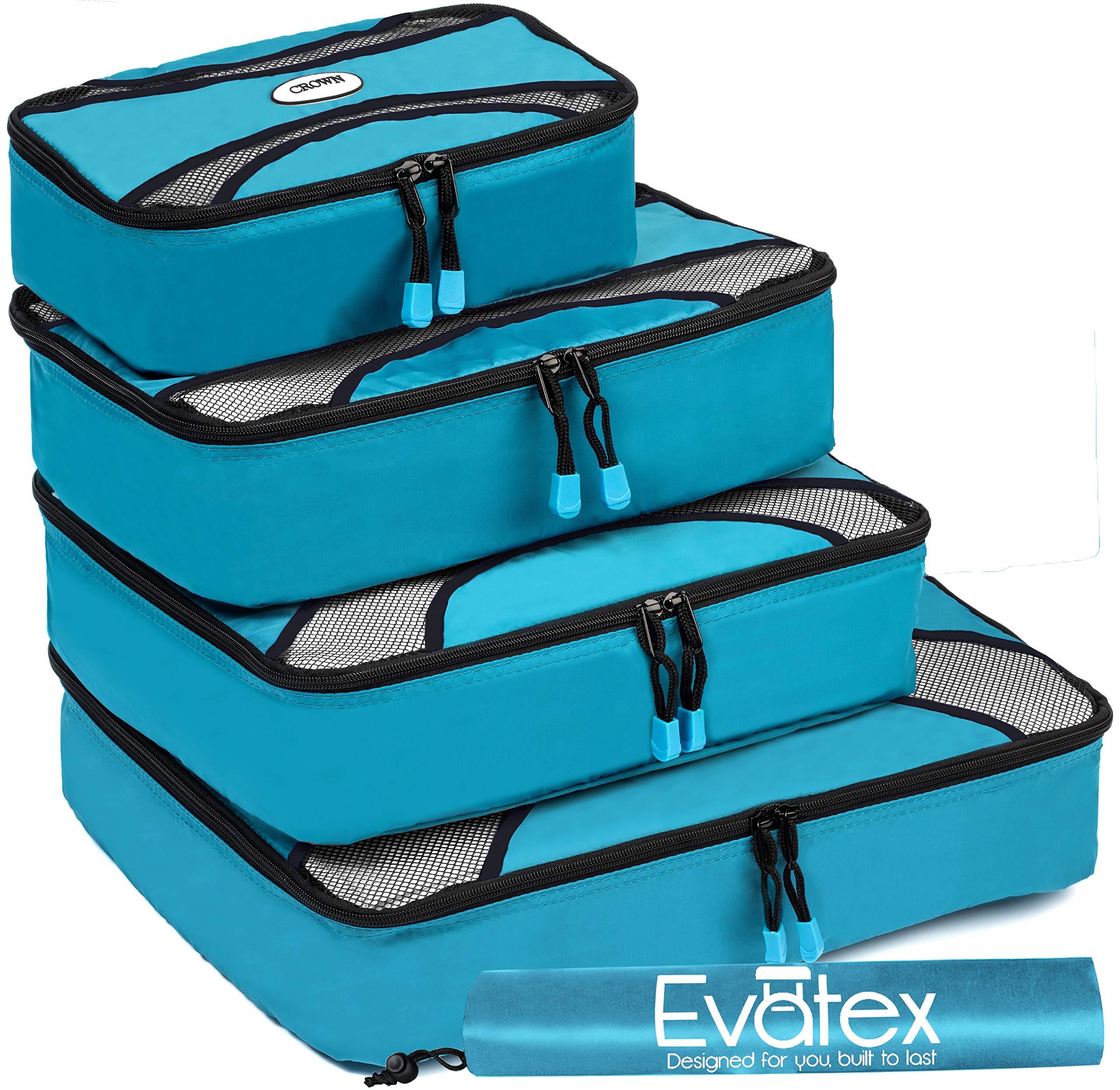Evatex Packing Cubes   Travel Packing Cubes, 6pc Set with Shoe Bag  Laundry Bag (Marine Blue) product image