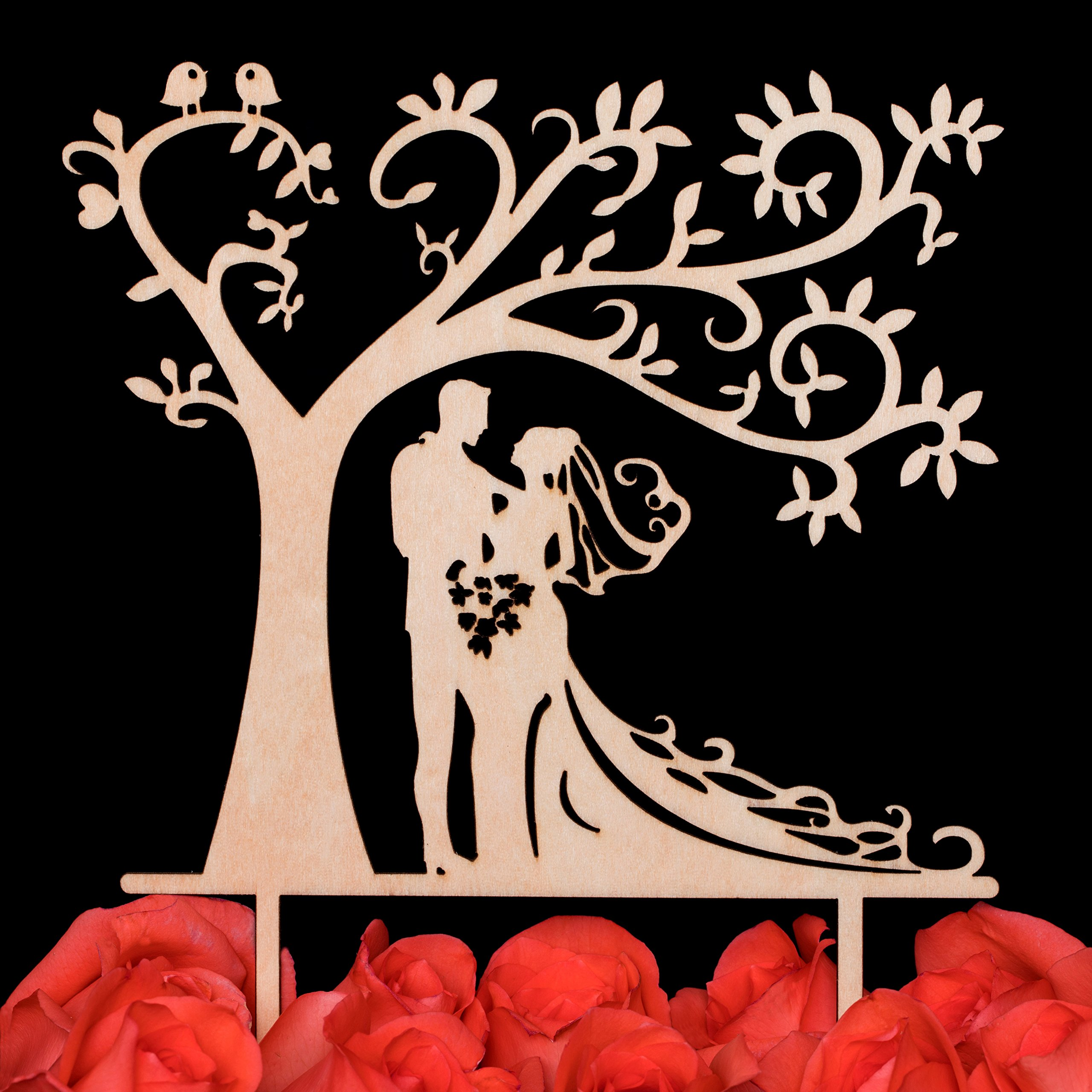 Bride and Groom Silhouette Tree Wedding Cake Topper Rustic with Gift Box