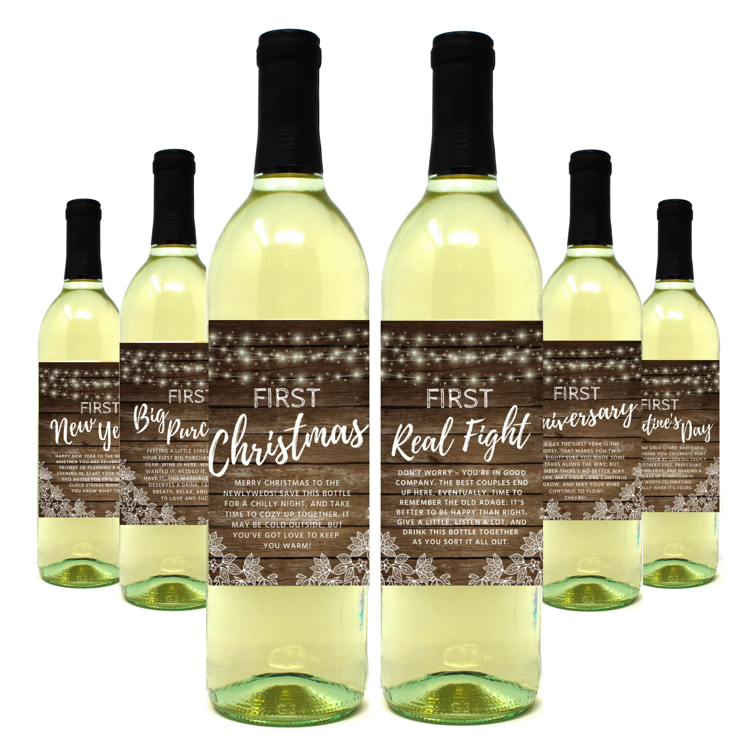 Wine Bottle Labels for Wedding Gift, Milestones, Bridal Shower, Engagement Party, Bachelorette Party, or Wedding Gift – Set of 6 (Rustic Wine Bottle Labels)