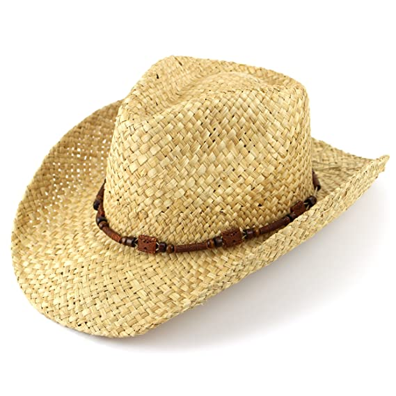 5ac3c0bb Straw cowboy hat natural with wooden band summer sun: Amazon.co.uk: Clothing