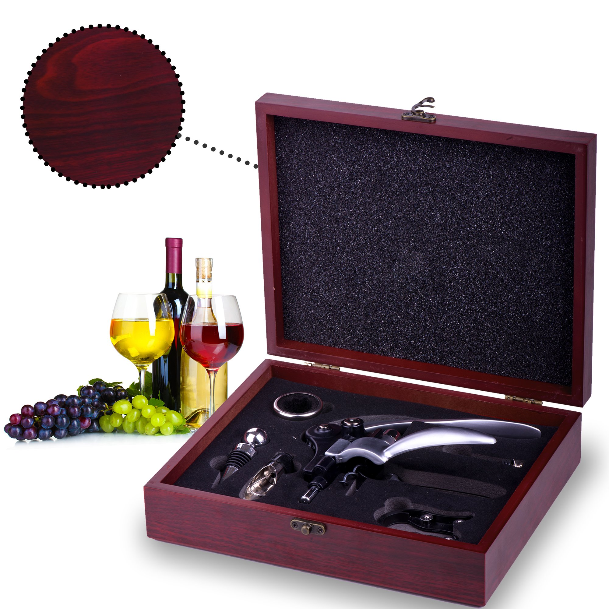 Wine Opener Set with Wine Stoppers, Drip Ring, Foil Cutter and Extra Corkscrew – Premium 6-Piece Gift Set in Elegant Cherry Wood Case