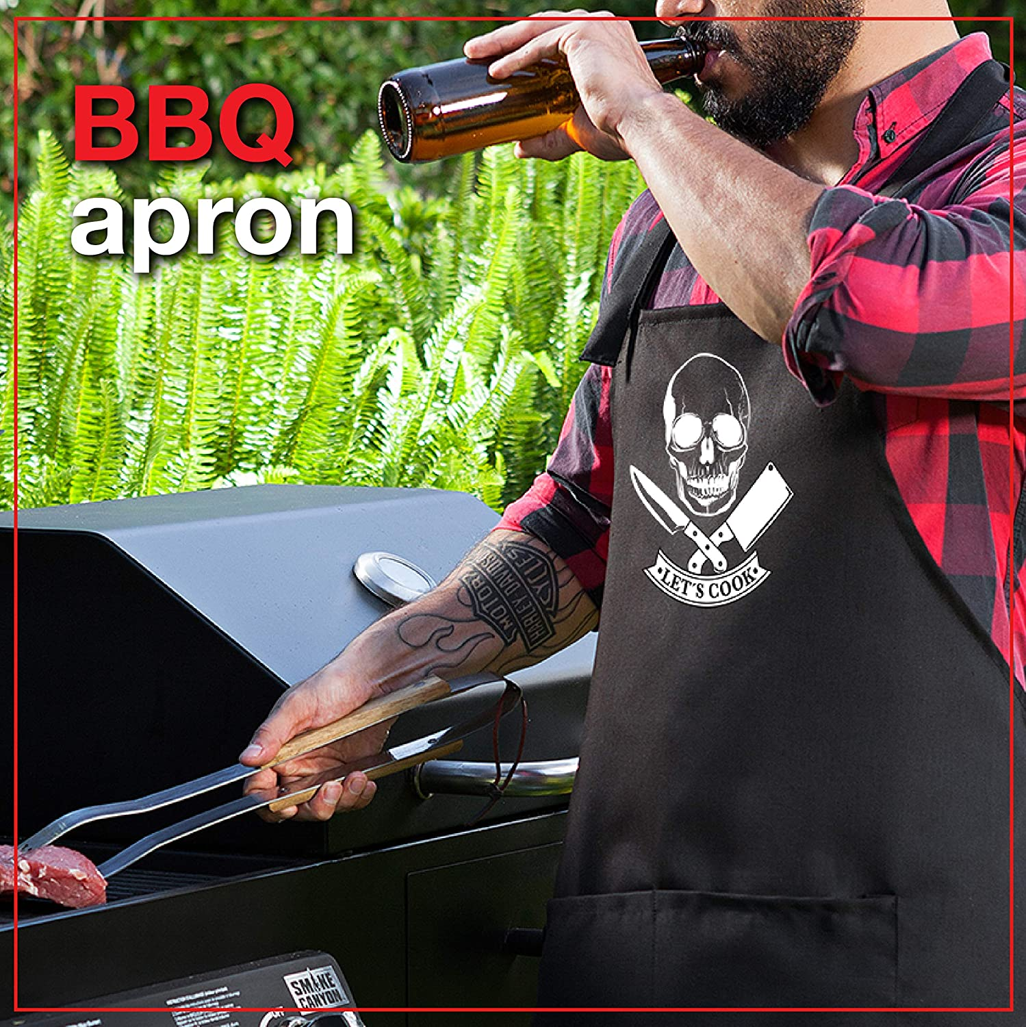 One Size Fits All Premium Quality Kitchen Apron for Men Comfortable /& Practical StarGifts BBQ Funny Aprons for Men Skull Cook ☠️ Ideal BBQ Accessories Chef Kitchen Grilling