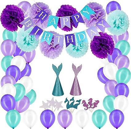 Sirena Decoraciones Suministros Para Fiestas Cumpleaños De Niñas 1 2 3 4 5 Años