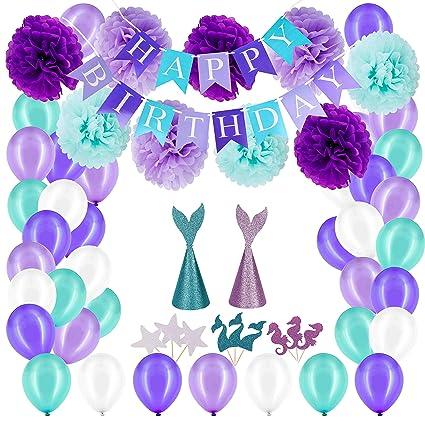 Amazon.com: Adornos de cumpleaños para fiesta de sirena ...
