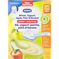 GERBER CEREAL Wheat with Yogourt & Apple Pear Banana, Cereal, 8+ months, 227 g, 6 Pack