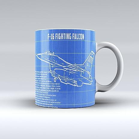 Amazon f16 fighting falcon blueprint coffee mug ceramic mug f16 fighting falcon blueprint coffee mug ceramic mug 15oz malvernweather Gallery