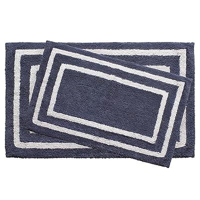 Jean Pierre Reversible Cotton Double Border 2-Piece Bath Rug Set, Denim Blue: Home & Kitchen [5Bkhe0204318]