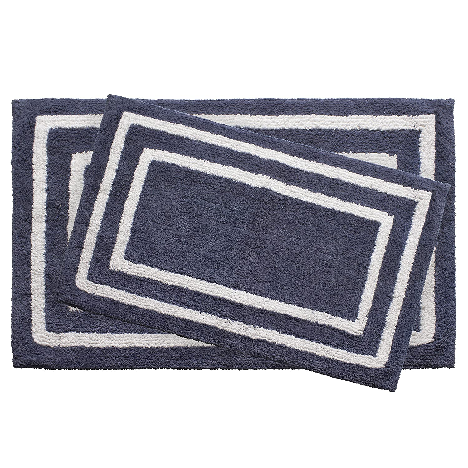 Bath Mat in Aquatic Blue Creative Home Ideas YMB003895 x 34 in Jean Pierre Reversible Cotton Plush Double Border 21 in